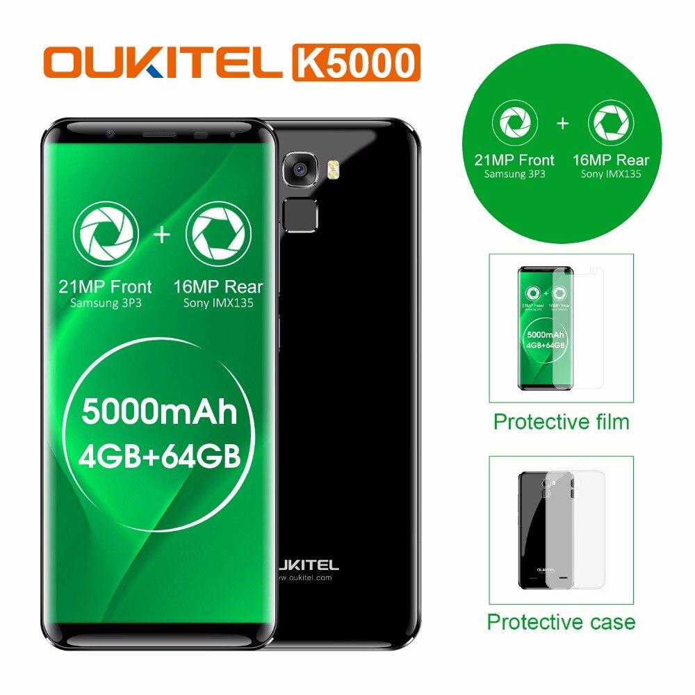 Original Oukitel K5000 4G LTE Mobile Phone 4 GB RAM 64 GB ROM MT6750V Núcleo octa Android 7.0 5.7 ''HD 5000 mAh Impressão Digital 16MP OTG