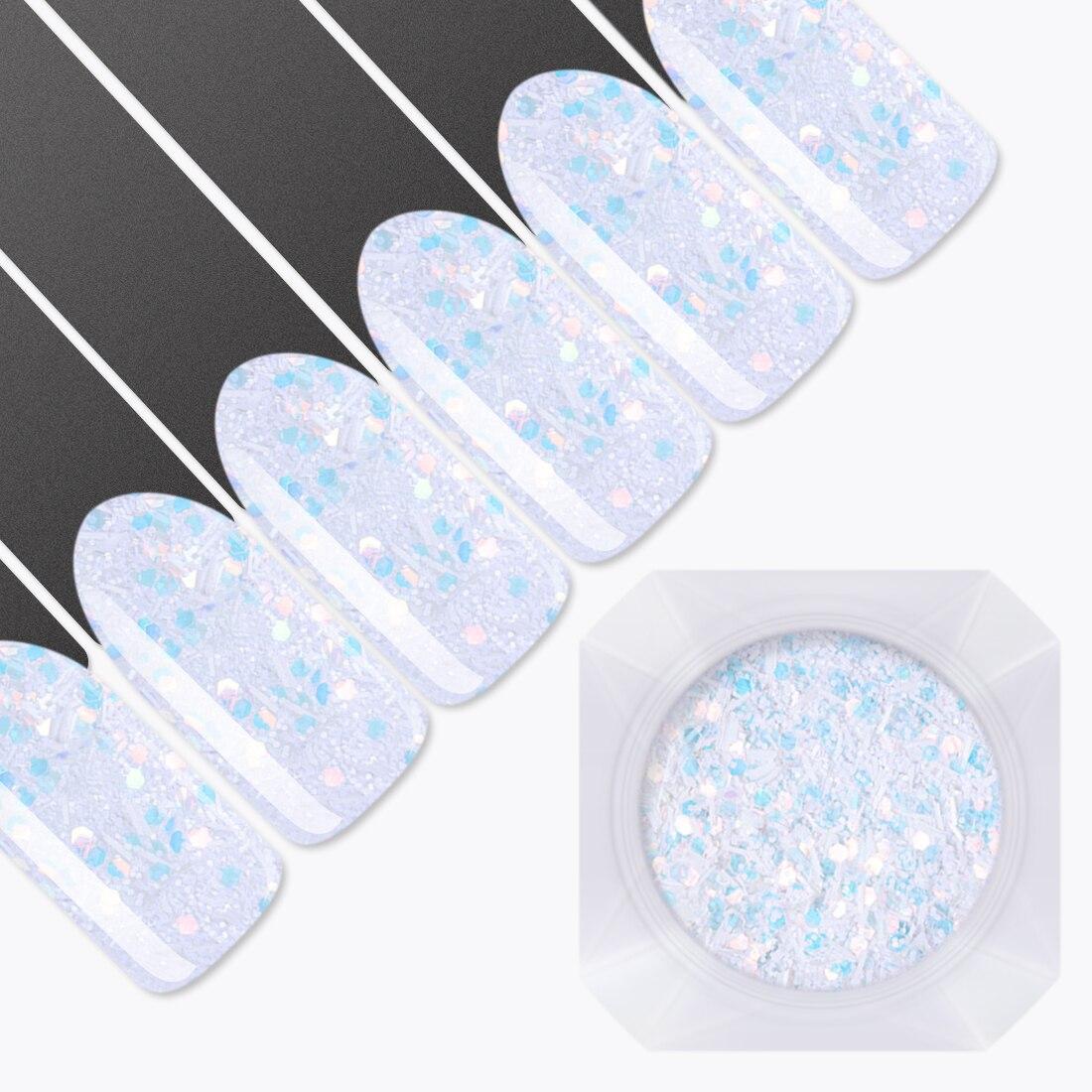 Hexagon Schneeflocke Nagel Pailletten 1,5g/jar Blau Weiß Streifen Paillette Schuppige Nail Art Tipps Winter Dekoration Maniküre Glitter Nagelglitzer