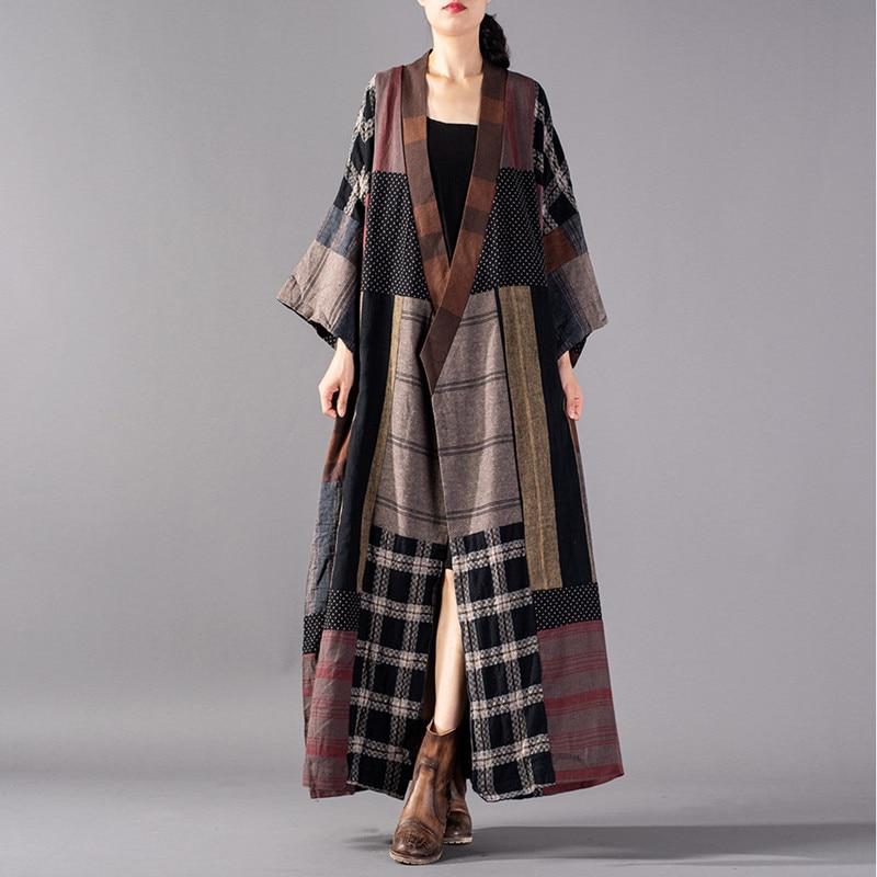 Johnature Vintage Long Cotton Linen Coats V-Neck Sashes Full Sleeve Patchwork Plus Size New 2018 Autumn Women Cardigan   Trench