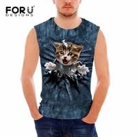 FORUDESIGNS Sleeveless Fitness Men Tank Tops Animal Pet Cat Printing Clothes Man Bodybuilding Cool Summer Vests
