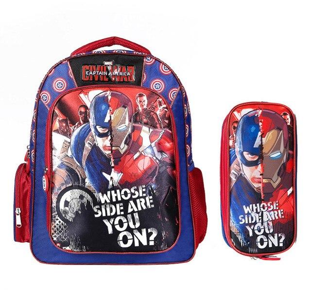 € 32.7 |Avengers Iron Man Captain America sac à dos porte crayon Set cartable enfants sacs d'école élémentaire sacs à dos pour garçons dans Sacs