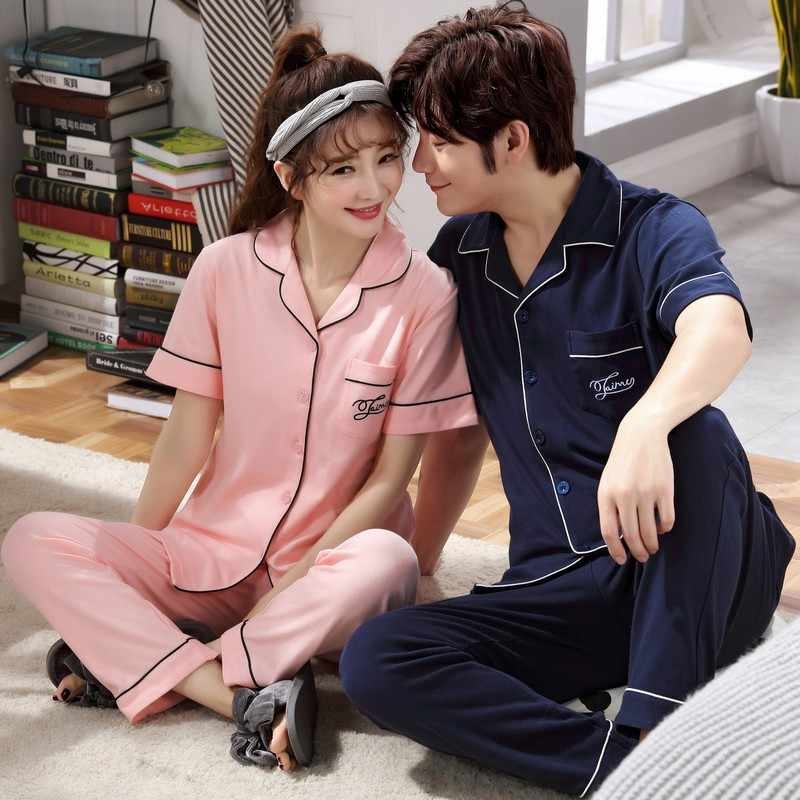 afd4c24105 Brand 100% Cotton Pajamas Sets Couple Sleepwear Family Pijama Lover Night  Suit Men & Women