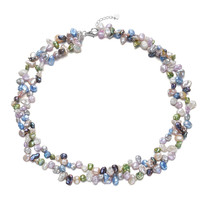 6mm keshi mixed color 2rows nice Real white Natural Freshwater Pearl Necklace pearl jewelry for women