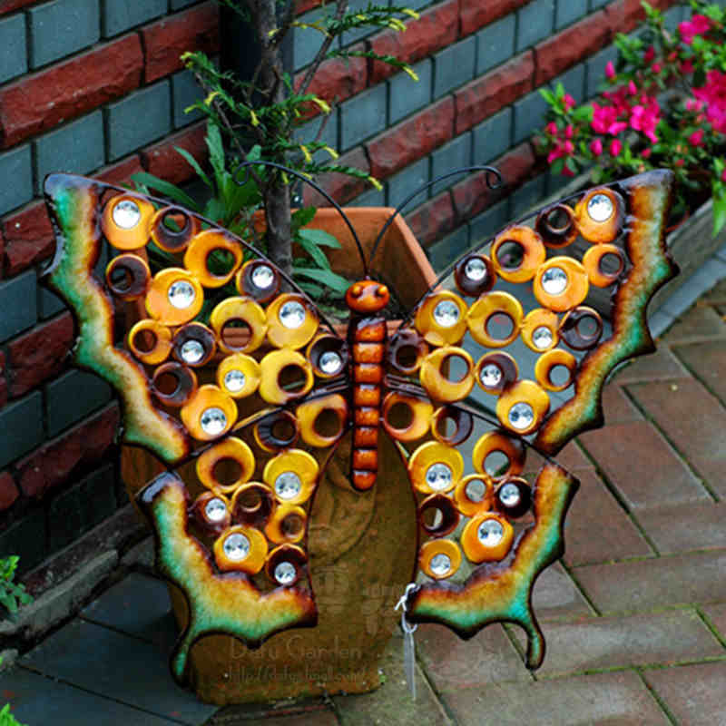Us 66 67 Home Garden Ornament Outdoor Metal Butterfly Garden Yark Hanging Wall Art Plaque Ornament Art House Gardening Decoration On Aliexpress Com