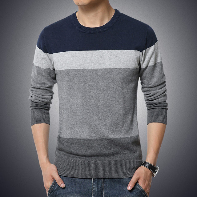 2019 Autumn Casual Men's Sweater O-Neck Striped Slim Fit Knittwear Mens Sweaters Pullovers Pullover Men Pull Homme M-3XL 21