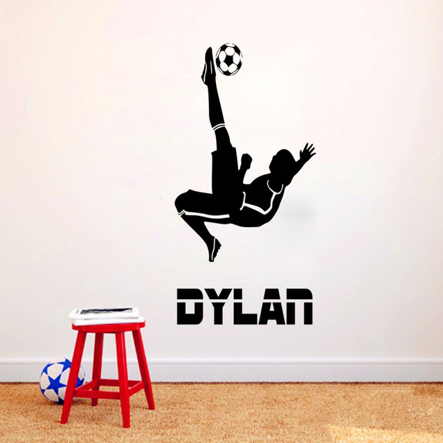 Personalized Name Football Player Wall Stickers Home Decor Living Room Vinyl Removable Wallpaper Decoration Accessories