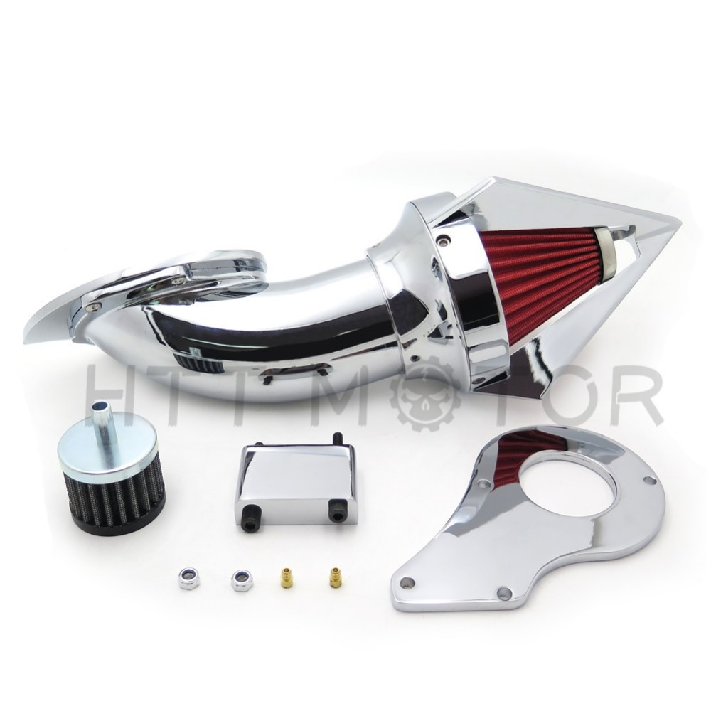 Aftermarket motorcycle parts Cone Spike Air Cleaner Kits for  Honda Shadow 600 VLX600 VLX 1999-2012 Chrome aftermarket motorcycle parts spike air cleaner kits intake filter for honda shadow 600 vlx600 1999 2012 chromed