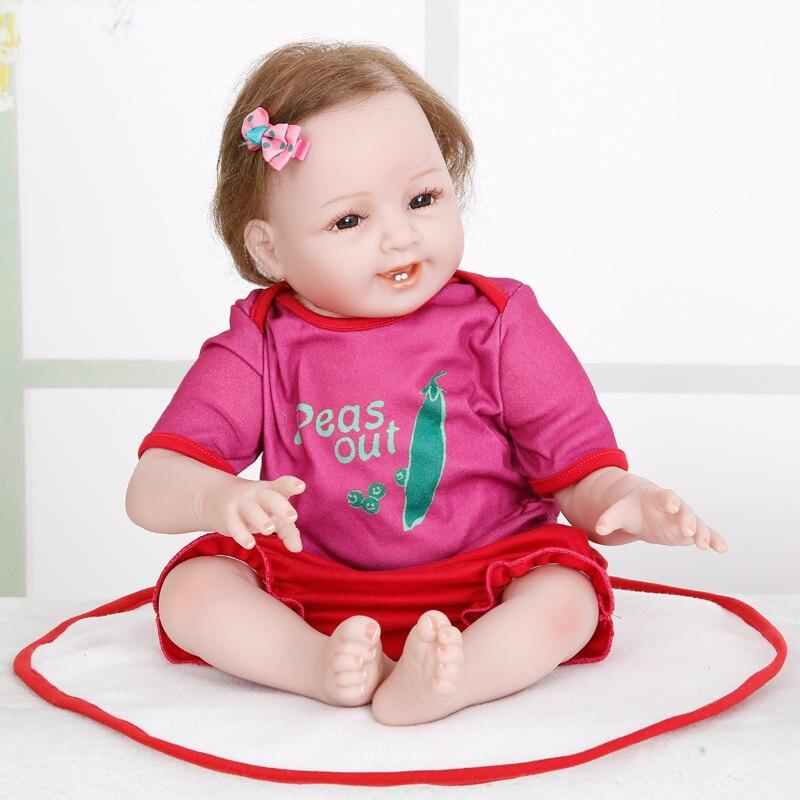 الأميرة آنا 55 سنتيمتر بيبي تولد من جديد دمية الرضع سيليكون تولد من جديد دمى طفل واقعية نابض بالحياة لعب هدية عيد ميلاد-في الدمى من الألعاب والهوايات على  مجموعة 1