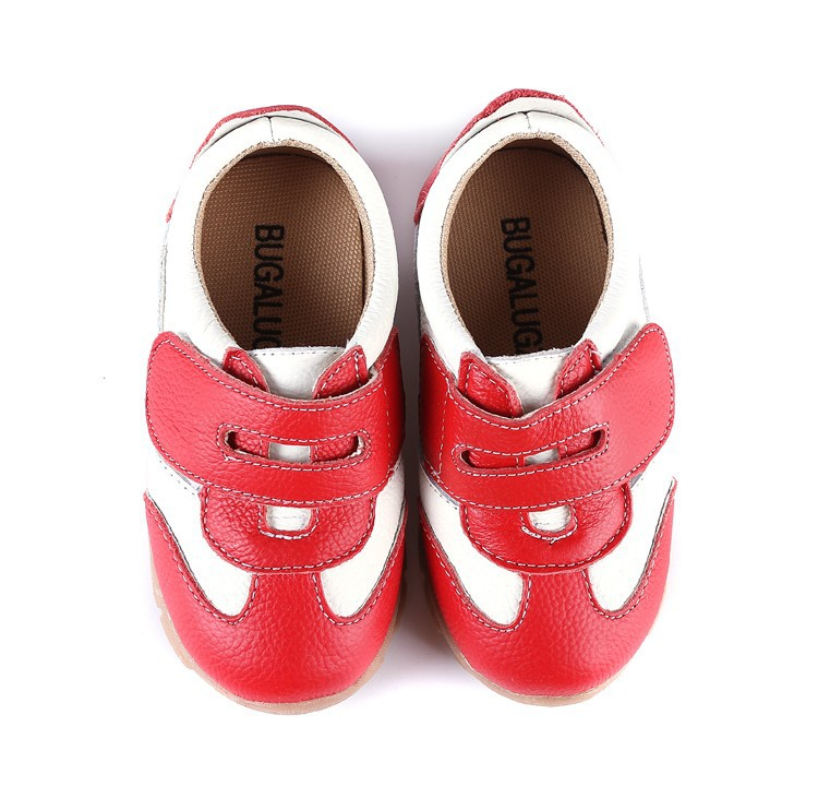 SandQ baby Boys sneakers soccers shoes girls sneakers Children leather shoes pink red black navy genuine leather flexible sole 13