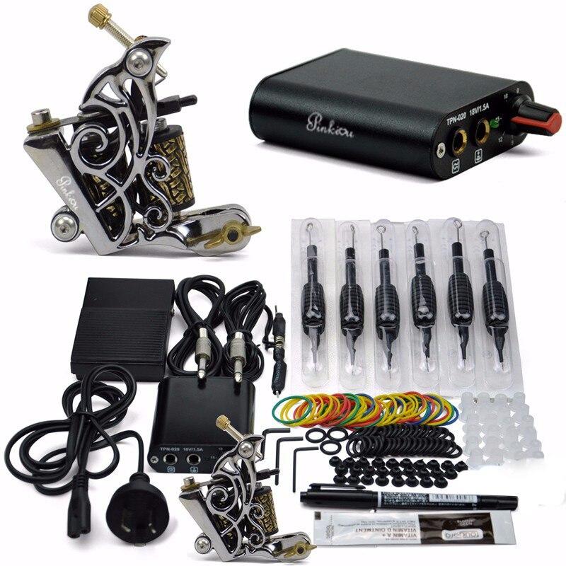 Professionnel De Tatouage Kit 1 Pistolets De Tatouage 8 wrap bobines dermographe set pour Débutant art corporel