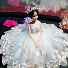 Doll+Dress +shoes/Luxury Lace Big White Bride Wedding Party Gown Fashion Outfit Clothing Accessories For Kurhn Barbi 022006 handmade pure white wedding gown with sequin copy pearl beads gorgeous dress limited edition clothes for barbie doll kurhn fr