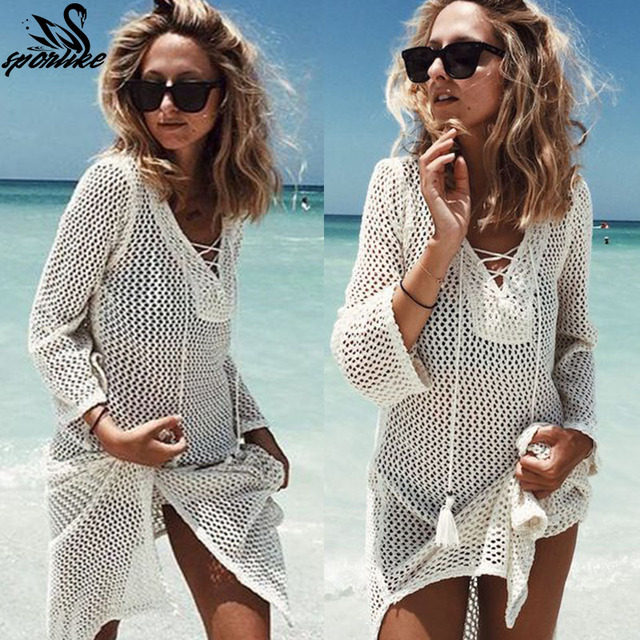 3e3f9c7547 2018 New Beach Cover Up Bikini Crochet Knitted Tassel Tie Beachwear Summer Swimsuit  Cover Up Sexy See-through Beach Dress
