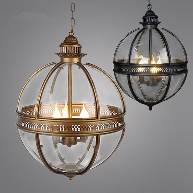 Vintage Loft Globe Pendant Lights Wrought Iron Gl Shade Kitchen