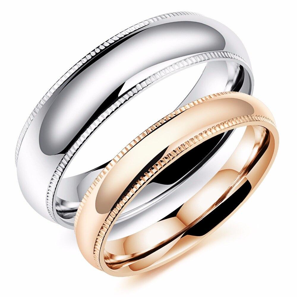 Узкие модные Titanium стальное кольцо покрытие цвета розового золота кольца пара ...