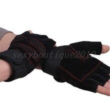 Мужские перчатки из натуральной кожи с полупальцами для кроссфита, нескользящие перчатки для тренажерного зала, фитнеса, гантели, спорт, бодибилдинг, перчатки для тяжелой атлетики