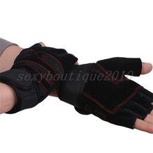 Натуральная кожа Для мужчин на полпальца crossfit перчатки Нескользящие