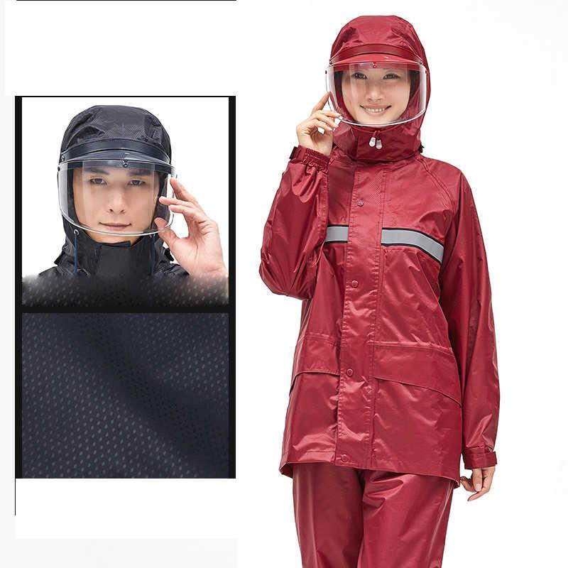 Jinete de la motocicleta traje Impermeable mujeres/hombres casco cap aleros Moto motocicleta Poncho ropa Impermeable senderismo pesca lluvia