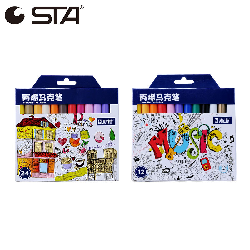 STA Marker Pens 0.5mm Fine Needle Pen Single Permanent Markers For Hook line Stroke Sharpie 28 Colors Round Toe Acrylic Painter kitsan1758056san25025 value kit sharpie grip porous point stick permanent water resistant pen san1758056 and sharpie accent tank style highlighter san25025