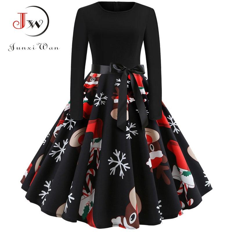 Winter Christmas Dresses Women 50S 60S Vintage Robe Swing Pinup Elegant Party Dress Long Sleeve Casual Plus Size Print Black(China)