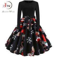 Winter Christmas Dresses Women 50S 60S Vintage Robe Swing Pinup Elegant Party Dress Long Sleeve Casual Plus Size Print Black(China)