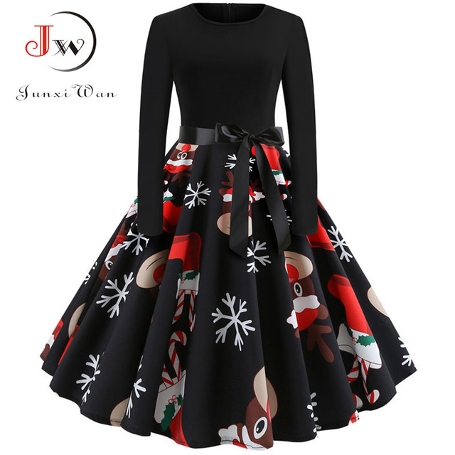 Winter Christmas Dresses Women 50S 60S Vintage Robe Swing Pinup Elegant Party Dress Long Sleeve Casual