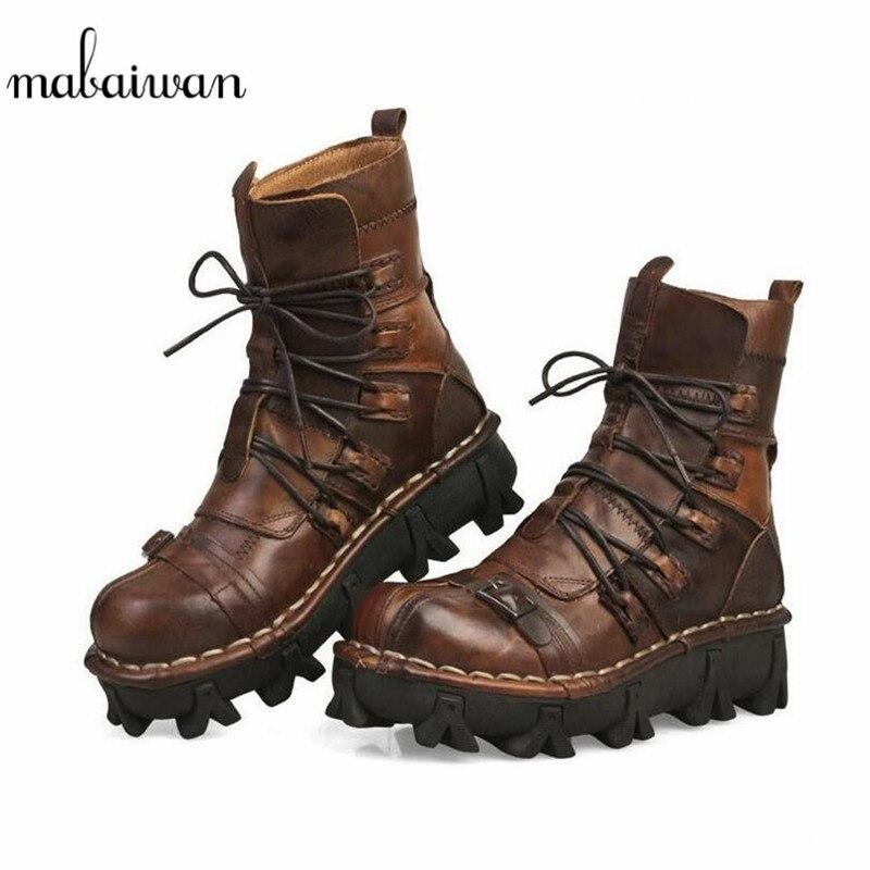 Mabaiwan nouveau marron hommes Cowboy chaussures en cuir véritable moto militaire bottes hommes à lacets bout rond Punk bottes de Combat d'équitation