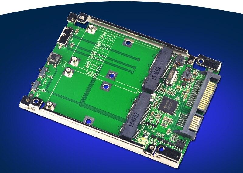 2.5 SATA3.0 6G / USB3.0 to 2 Port mSATA Adapter Raid Card Support RAID 0 1 JBOD raid 72