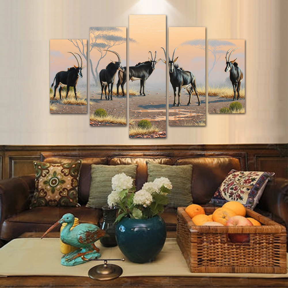 Unframed HD Print 5 Canvas Art Painting Antelope Living Room Decoration Spray Painting Mural Unframed Free Shipping