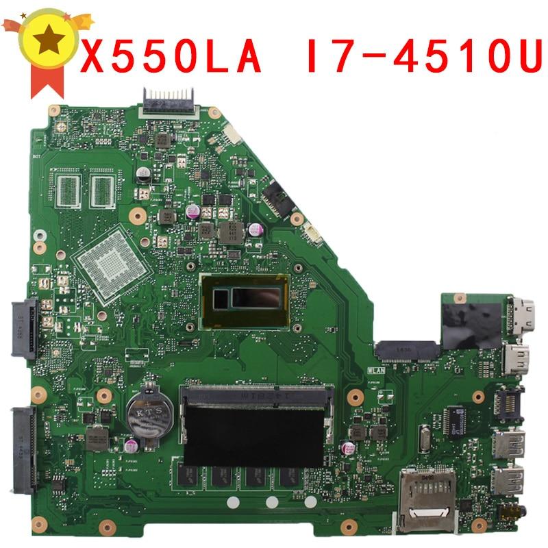 For Asus motherboard A550L A550LA R510L R510LA X550L X550LA motherboard X550LD REV2.0 Mainboard With i7-4510U HD 4400 100% Work brand new ziwb2 ziwb3 ziwe1 la b092p rev 1 0 for b50 70 laptop motherboard mainboard with with sr1ek core i3 4005u