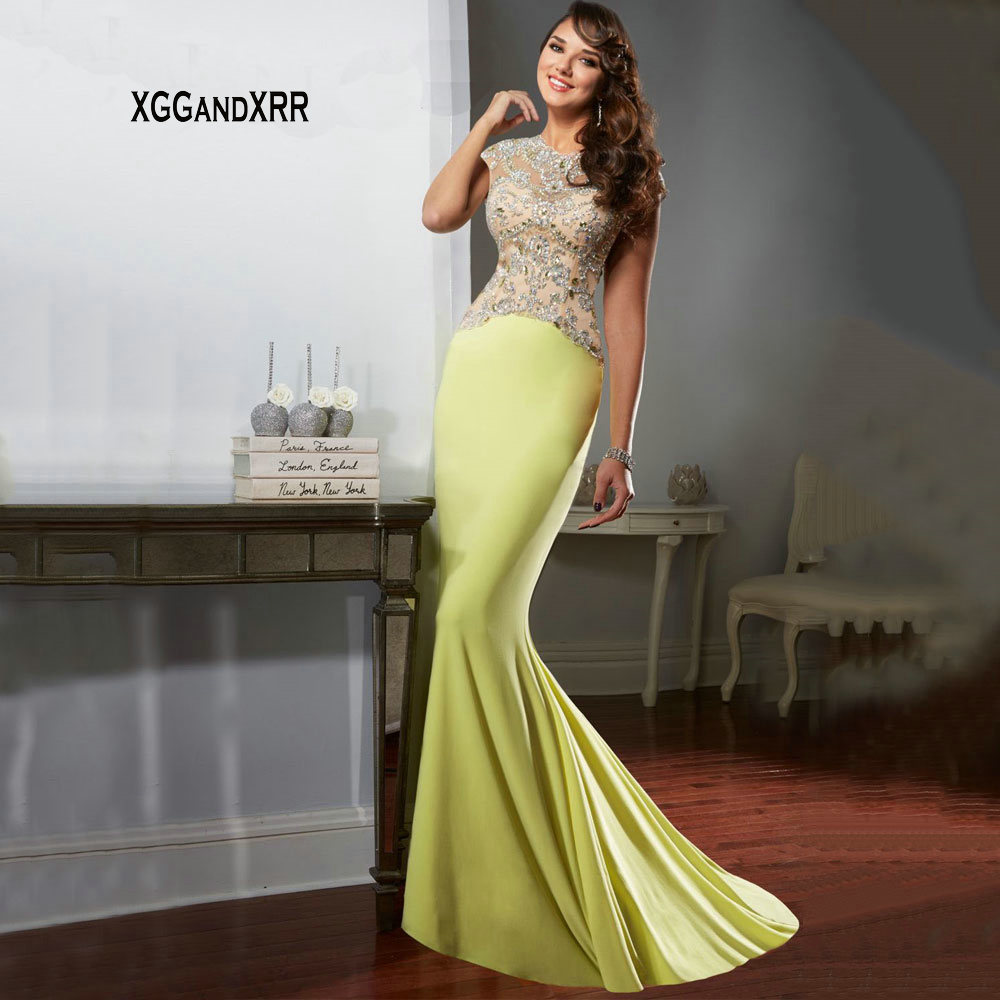 IMH129 New Arrival Yellow Long Evening Dress Heavy Beaded Sequins Sexy Sheer Back Fashion Formal Dress