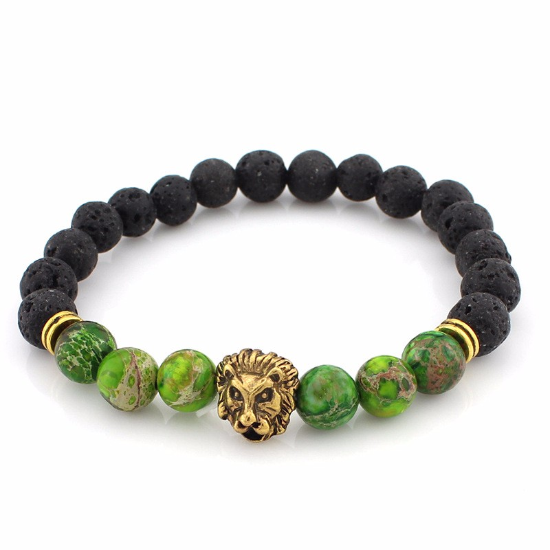 black-lava-stone-bracelets-with-gold-lion-with-green-colored-natural-stones