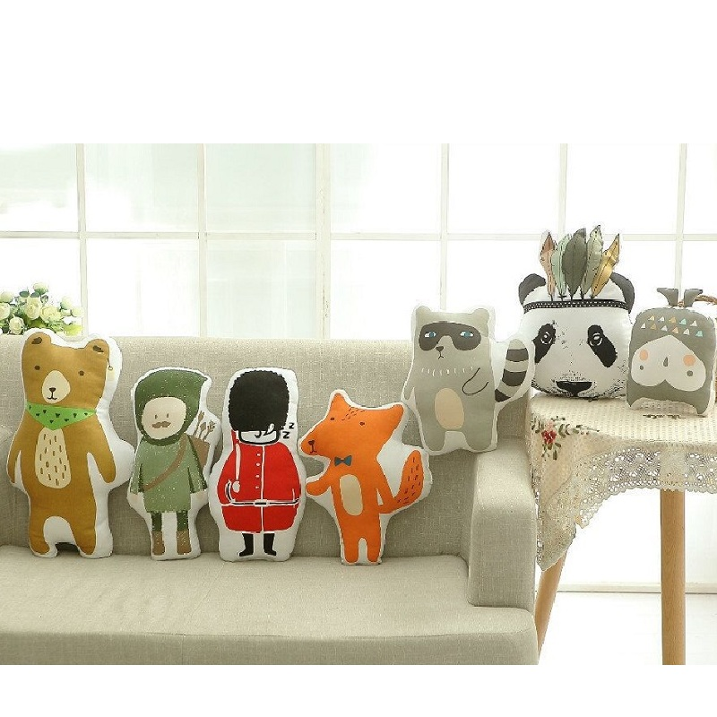 Lovely Animals Fox Panda Bear Hunter Raccoon Cushion Pillow Stuffed Plush Dolls Gifts Nordic Kids Photo Props Bed Room Decor new arrival handmade lovely cartoon animals plush dolls stuffed cushion pillow toys gifts nordic kids room bed decor photo props