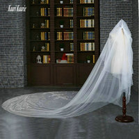 Fashion White Wedding Veil 3 Meters Length Tulle 1.5 M Width purdah 2018 Ivory Lace Appliques BlingBling Cathedral Bridal Veils