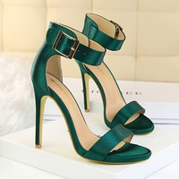 fashion Simple Sexy sandals women 11.3CM Nightclub Fine with overheight with Satin metal belt buckle Word Band women shoes