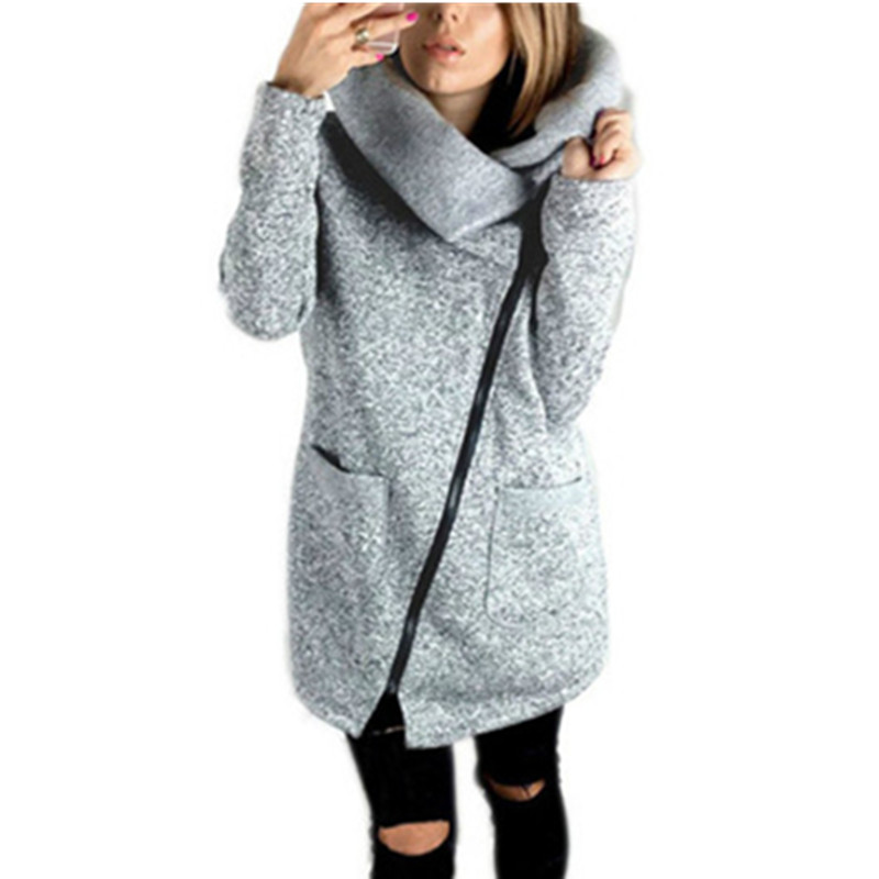 Zipper New Fashion Women Jackets Autumn Winter Coats Long Sleeve Solid Turn-down Collar Jacket Femme Outerwear Plus Size GV908b