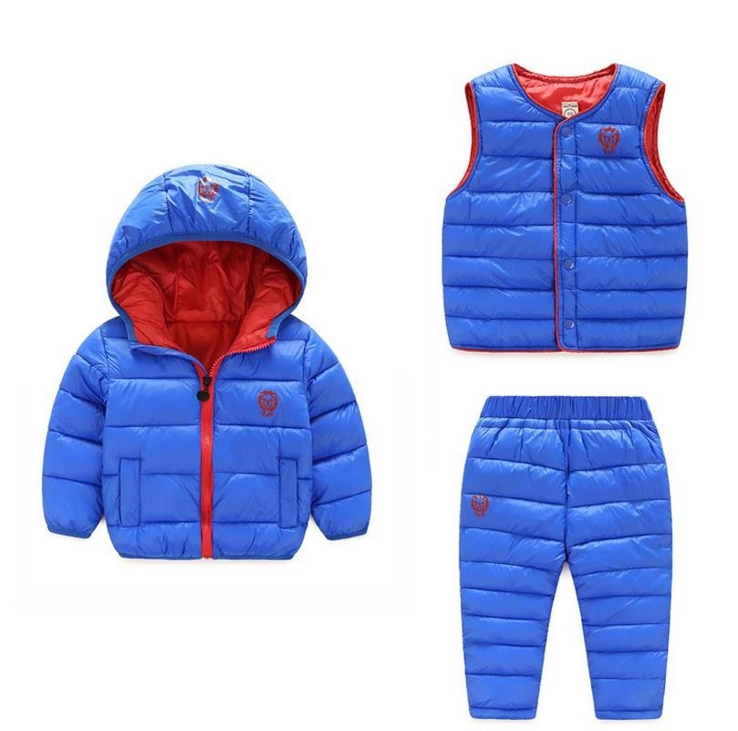 New 2017 Winter Baby Girls Boys Clothes Sets Children Down Cotton-padded Coat+Vest+Pants Kids Infant Warm Outdoot Suits 1-6 year 2016 new winter boys girls clothes coat children down