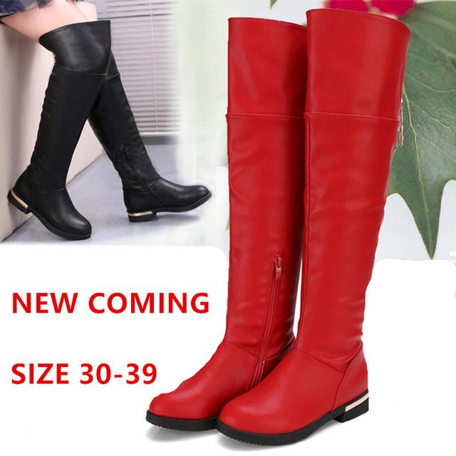 2015 el Nuevo Venir Del Otoño Chicas de Moda de Invierno Sobre las Botas de la rodilla Botas Altas de Nieve de Los Niños Botas de Princesa Zapatos de Gran Tamaño 30-39