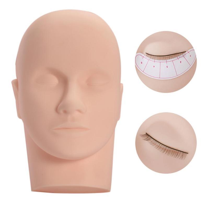 Pestañas injertado de Maniquí de entrenamiento de cabeza plana injerto pestañas entrenador herramienta masaje maniquí cabeza para la extensión del latigazo