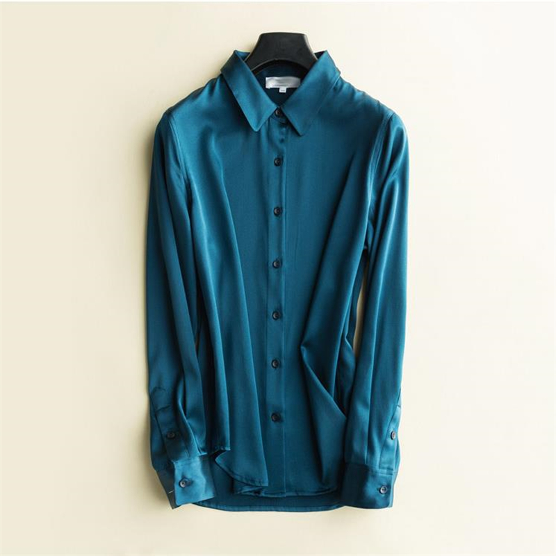 Femme printemps 93% chemises en soie femme automne surdimensionné Blouse en soie dame respirant chemise en soie femmes été Cardigan Seda Camisas