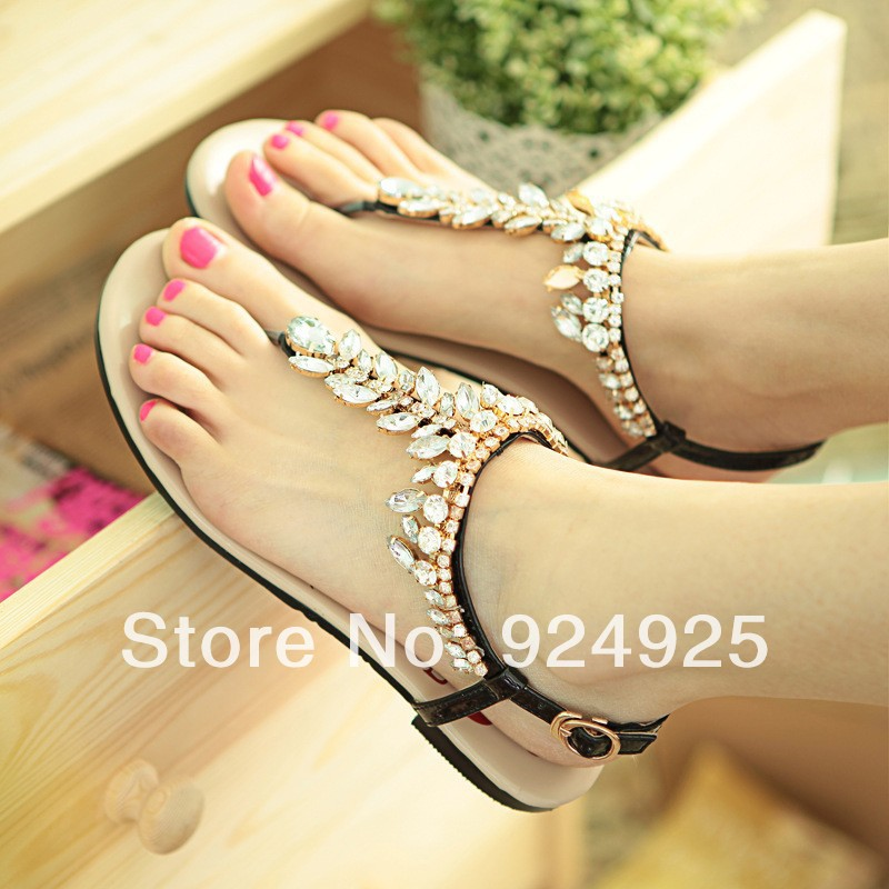 b605642fe koran 2014 Bohemia summer Leather flat sandals rhinestone crystal women  pumps free shipping size 10 11-in Women s Sandals from Shoes on  Aliexpress.com ...