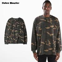 Kanye West T-shirt Mannen 2016 Herfst Lange Mouw Camouflage T-shirt Camo Leger Extended Tees Hiphop Tyga Swag Losse Streetwear 3XL