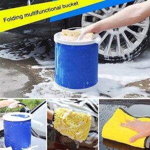 Image 5 - Ensemble de nettoyage et de séchage pour voiture, serviette de détail en microfibre, seau pliable Portable, gant Chenille imperméable, accessoire de lavage, 3 pièces
