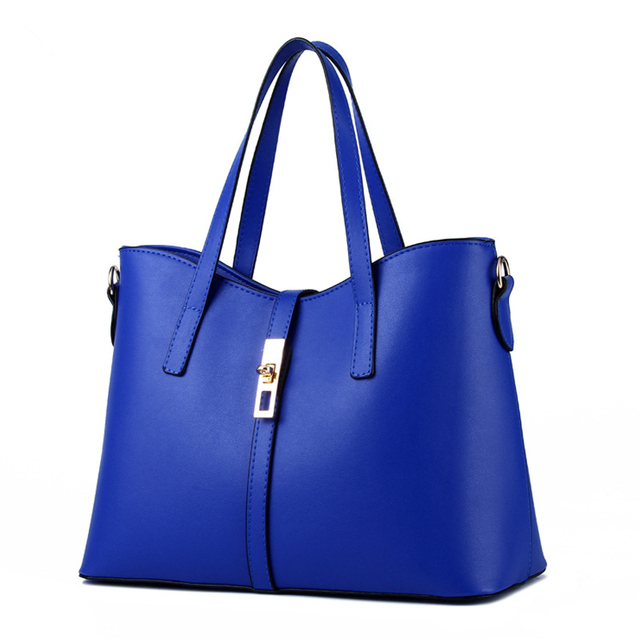 d86f057e8027 Fashion Cusual PU Women Handbag Blue Color Office Lady Shoulder Bag Lock Zipper  Crossbody Messenger