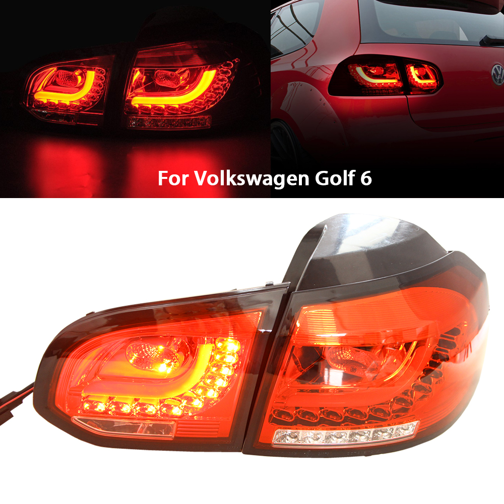 Tail Fog Light Assembly For VW GOLF MK6 Golf/GTI 2010-2014 Red Lens 3D LED Rear Tail Brake + Corner Signal Parking Lights Source 2pcs white under led side mirror puddle light lamp for vw golf gti mk6 6 mkvi 2010 2014