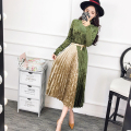 [soonyour] 2017 Spring Fashion New Korean Temperament Hit color Pleuche Long Sleeve  Big swing Dress Woman YD78101M