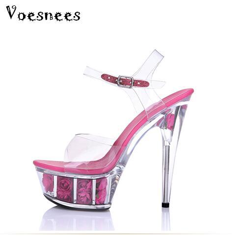 Women Summer Sandals Transparent Crystal Platform Sandals High-heeled Shoes 15cm Fashion Shows Thin Heels Shoe Plus-size 34-44 shoes woman ultra high heels 15cm platform rose sandals transparent crystal shoes wedding shoes princess shoes size 34 44
