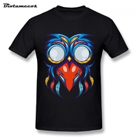 Summer Men T Shirt Colorful Bird With Colors Feather And Big Eyes Pirnted Short Sleeve O
