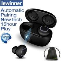 Lewinner V09 Bluetooth наушники Беспроводной наушники СПЦ наушники 500 мАч Мини зарядки случае глубокий бас стерео звук с микрофоном