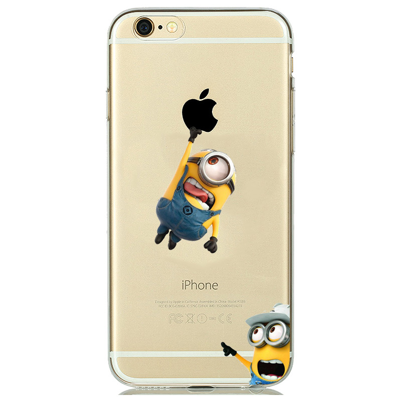cheap for discount 43319 f3956 US $2.58 38% OFF|Funny Cartoon Despicable Me Yellow Minion Phone Cases for  iphone 7 8 6s 5s SE capinhas coque Minion Case Transparent Cover Girls-in  ...