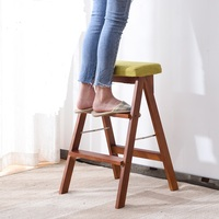 15%Solid Wood Step Stool Home Three Step Folding Ladder Room Indoor Multi Function Ladder Chair Kitchen Dual Use Ascending Stair
